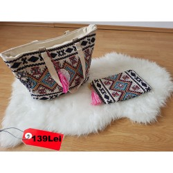 Pachet geanta Mary +plic Valentina material textil