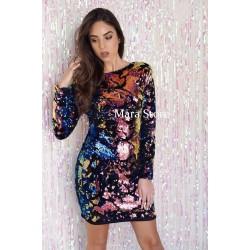 Rochie cu paiete multicolore Diva