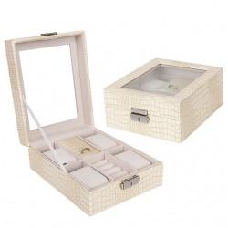 Cutie pentru ceasuri si bijuterii Croco bej
