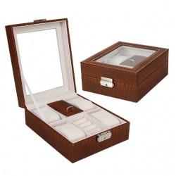 Cutie pentru ceasuri si bijuterii Croco maro
