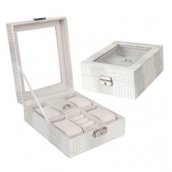 Cutie pentru ceasuri si bijuterii Croco alb