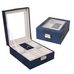 Cutie pentru ceasuri si bijuterii Croco bleumarin