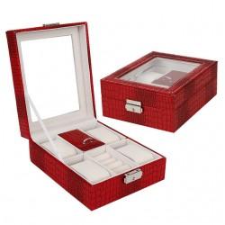 Cutie pentru ceasuri si bijuterii Croco rosu