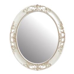 Oglinda ovala cu rama ivory din lemn