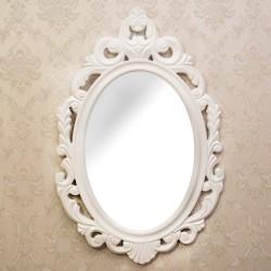 Oglinda ovala cu rama alba 35x25