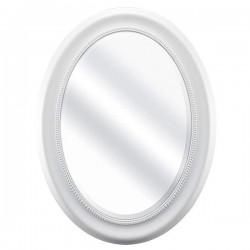 Oglinda ovala cu rama alba din lemn 36x53 cm