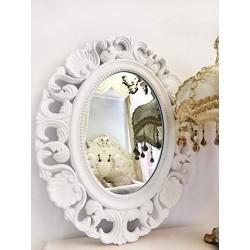 Oglinda ovala cu rama alba 42x52 cm
