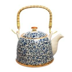 Ceainic ceramica, cu sita si maner bambus Allegria