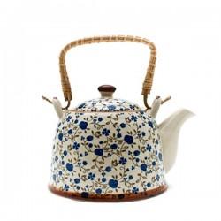 Ceainic albastru ceramica cu sita si maner bambus Potos