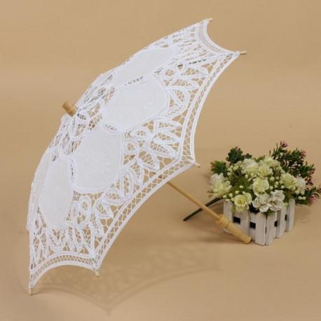 Umbrela alba mireasa model dantelat
