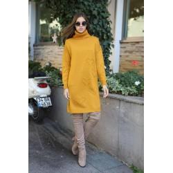 Rochie tricotata cu guler Galben mustar
