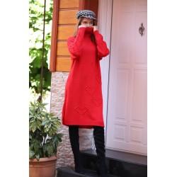 Rochie tricotata cu guler Rosu