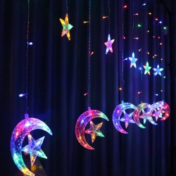Instalatie Craciun, perdea, Luna si stele multicolor