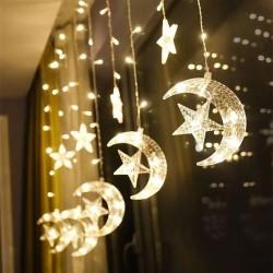 Instalatie Craciun, perdea, Luna si stele lumina calda