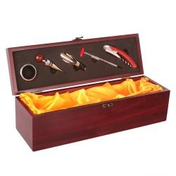 Cutie din lemn cu accesorii pentru sticla de vin